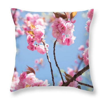 Cherry Bloom Pillow. Cherry Bloom Cushion.Floral Cushion. Flower Seat. Sacura Art Photo Throw Pillow Botanical Floral Art. Pink Throw Pillow
