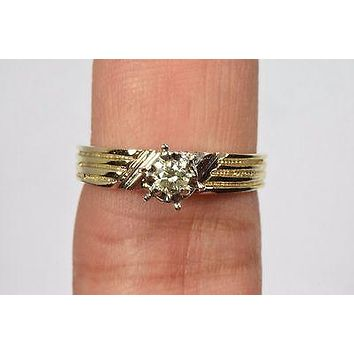 14k Yellow Gold .17 ct K SI1 Not Enhanced Diamond Solitaire Ring Excellent