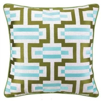 Monaco Green and Turquoise Throw Pillow