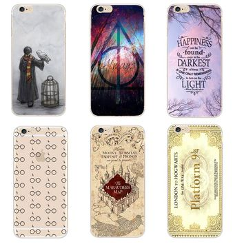 Harry Potter Case For iphone SE 5 5S 6 6S 6S 7 8 X Plus Transparent Hard Plastic Cases Phone Back Cover Coque Capa