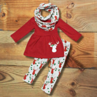 Red Reindeer Scarf Set