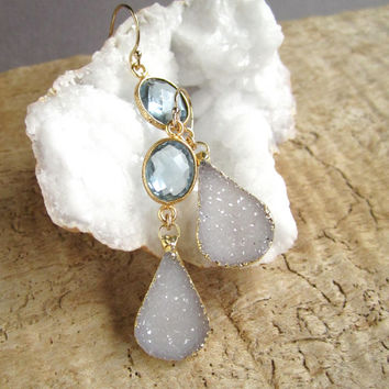 Druzy Earrings White Druzy Drops Drusy Quartz Blue Topaz Gold Vemeil