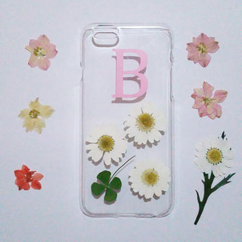 Personalized iPhone 6 Case,monogram iPhone 6 case,pressed flower iPhone 5C case,initial iphone 6 plus case,flower iphone case