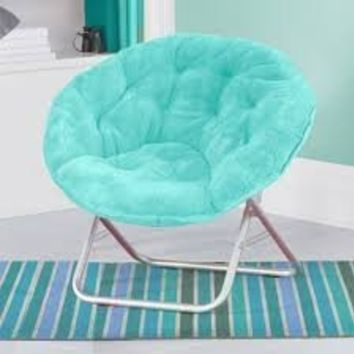 Luxury Padded Faux-Fur Saucer Chair, (Aqua)