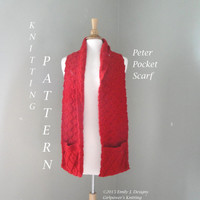 Peter Pocket Scarf Knitting Pattern, Cabled Pattern & Boxes, Scarf with Pocket, Worsted Yarn, Men Women Teens