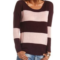 Boxy Rugby Striped Pullover Sweater by Charlotte Russe - Blush Combo