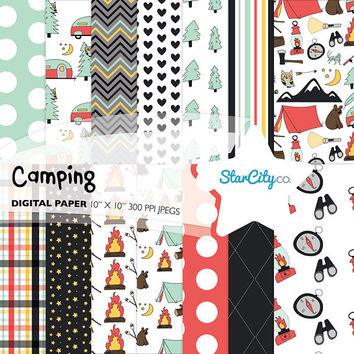 Camping Digital Paper Pack, Digital Pattern, Campsite Paper Pack, Camp fire Digital Paper, Woodlands Paper, Camp Paper pack, Commercial Use