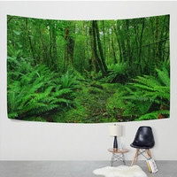 Nature Landscape Tree Bryophytes Plants Tapestry Wall Hanging Green Leaf Rainforest Wall Decor Art for Bedroom Living Room Dorm