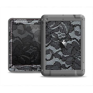 The Black Lace Texture Apple iPad Mini LifeProof Nuud Case Skin Set
