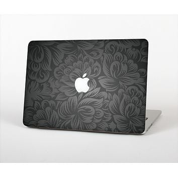 The Black & Gray Dark Lace Floral Skin Set for the Apple MacBook Pro 15""