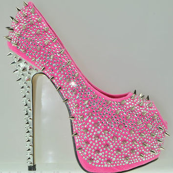 Kiss Kouture Galaxy Neon Pink Spiked Rhinestone Platform Shoe Mirrored Heel