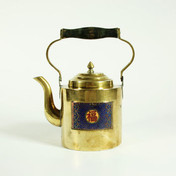 Vintage Brass and Enamel Chinese China Teapot
