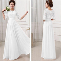 White Womens Lace Dress Formal Evening Wedding Long Prom Gown Bodycon Dresses