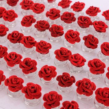 12Pcs Wedding Bridal Hair Pins Clips Twists Coils Rose Flower Swirl Spiral Hairpins Fashion Party Jewelry Accessories
