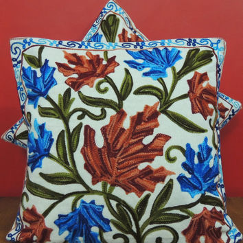 CIJ sale/Rust Orange Blue Green White Pillow Cover/Embroidered Throw/Euro Sham Cushion/16x16/20x20/Floral Round Pillow/Accent Pillow/Oblong
