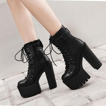 High Platform Lace Up High Chunky Heels Short Martin Boots