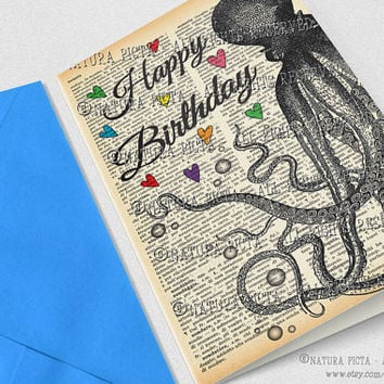 Octopus Happy Birthday Greeting Card-4x6 card-Octopus card-Birthday card-Octopus card-Dictionary card-funny card-design NATURA PICTA NPGC085