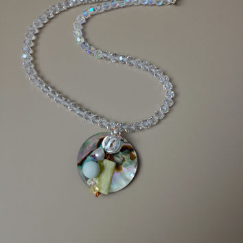 Abalone Necklace and Wired Wrapped Gemstones