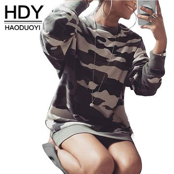 HDY Haoduoyi 2016 Autumn Women Fashion Camo Loose Casual Longline Sweatshirt Slim Long Sleeve Crew Neck Pullover Sweatshirt