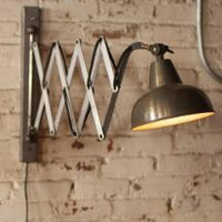 Industrial Raw Metal Scissor Wall Lamp