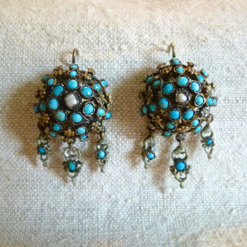 Antique Austro Hungarian Persian Turquoise and Pearl Earrings