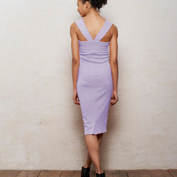 Mae Strappy Bodycon Midi Dress in Pastel Lilac Purple