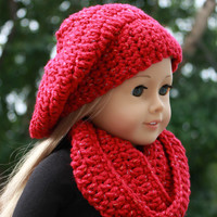beret style crochet slouch hat with infinity scarf, red sparkle, 18 inch doll clothes American girl Maplelea