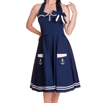 Hell Bunny 60's Motley Pinup Sailor Vintage Halter Sailor Swing Dress