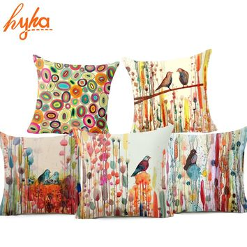 Hyha Bird Oil Painting Polyester Cushion Cover Plant Flower 43X43cm Pillow Case Home Decorative Pillows Cover For Sofa Car