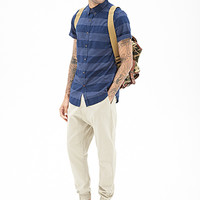 Striped Chambray Shirt Navy