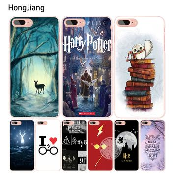 HongJiang harry potter deer owl hallow quotes cell phone Cover case for iphone 6 4 4s 5 5s SE 5c 6s 7 8 plus X