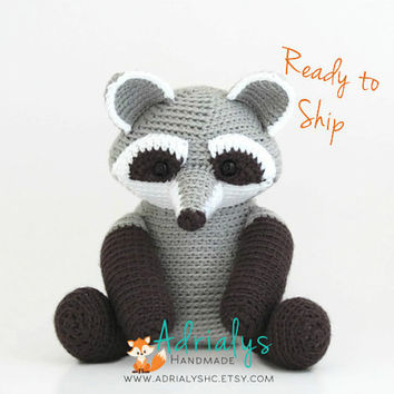 Crochet Raccoon- Stuffed Raccoon- Raccoon Plush- Woodland Animals- Forest Animals- Handmade Raccoon- Crochet Toys- Ready to Ship