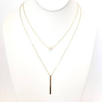 Layered Pearl Gold Bar Necklace