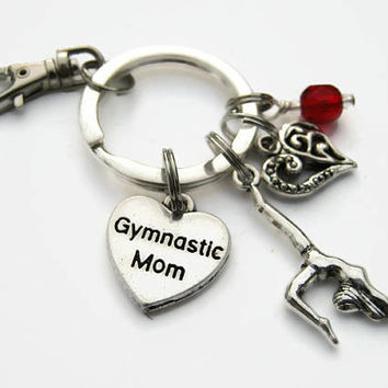 Gymnastic Mom Keychain, Gymnastics Zipper Pull,  Personalized Accessory, Athletic Keychain Lanyard, Gymnast Mother Gift, Sports Inspired