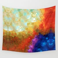 Angels Among Us - Emotive Spiritual Healing Art Wall Tapestry by Sharon Cummings
