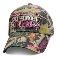Womens Green Camo Hat Pretty in Pink Deadly in Camo Baseball Cap