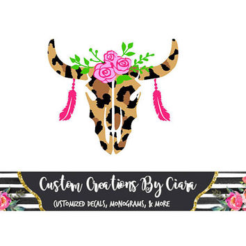 Skull Decal | Cheetah Skull Decal | Car Decal | Custom Skull Decal | Deer Skull Decal | Rustic Decal | Flower Decal | Monogram Skull | Cup
