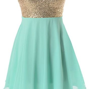 Spearmint Sparkle Dress | Mint Green Gold Sequin Party Dresses | RicketyRack.com