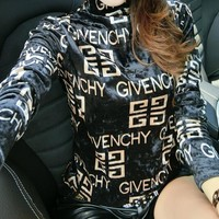 Givenchy Autumn Winter Fashion Women Print Long Sleeve High Collar Pleuche Sweater Top Black