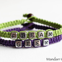 Freak and Geek, Best Friends, Quirky Hand Knotted Macrame Hemp Jewelry, Eco Friendly Gift, Couples Bracelet