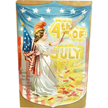 Patriotic Postcard / 4th July Postcard / American Postcard / Raphael Tuck Postcard / Independence Card