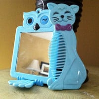baby blue owl and kitty cat comb and mirror by 41BenjaminStreet
