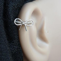 Cutie bow Silver Cartilage hoop Left or Right by PiercingRoom