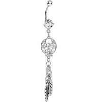 Enchanting Clear Gem Dangle Dreamcatcher Belly Ring | Body Candy Body Jewelry