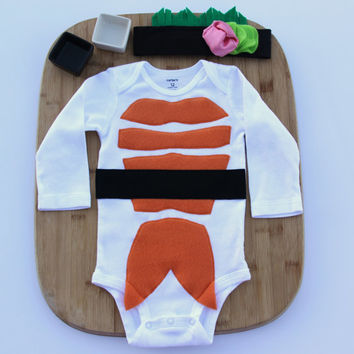 Sushi Baby Costume, with Headband, Baby Halloween Costume, Long Sleeve Sushi Costume