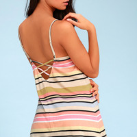 Hyacinth Orange Multi Striped Sleeveless Dress