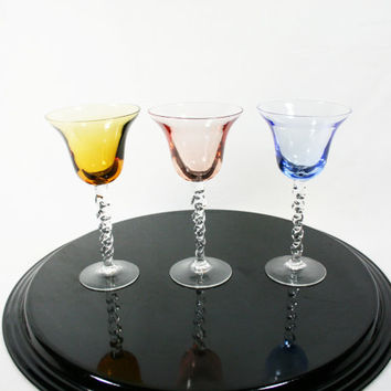Vintage Cordial Glasses Multi Colored Spiral Stem Set of 3