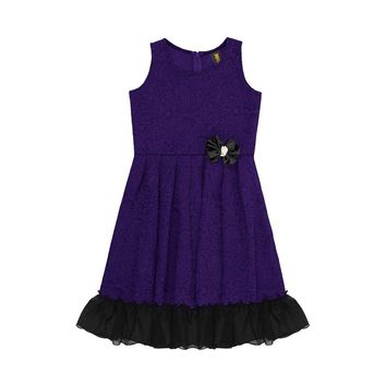 Purple Red Fit & Flare Ruffled Hem Holiday Party Christmas Dress Girls