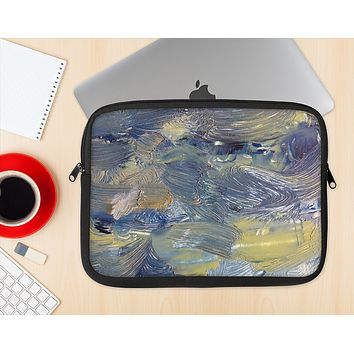 The Blue & Yellow Abstract Oil Painting Ink-Fuzed NeoPrene MacBook Laptop Sleeve