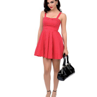 Red & White Small Dot Fit N Flare Short Dress